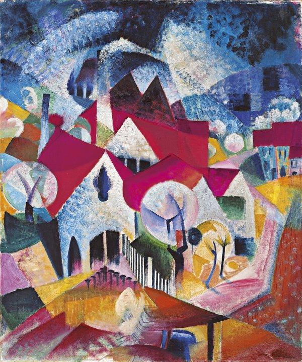 Grupo de casas en primavera, de Johannes Itten (1916)
