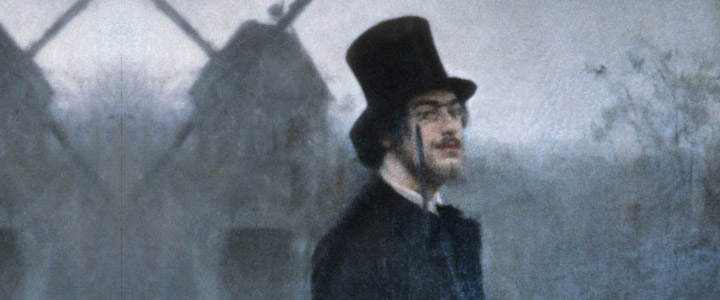 Detalle del retrato de Erik Satie (por Ramón Casas)